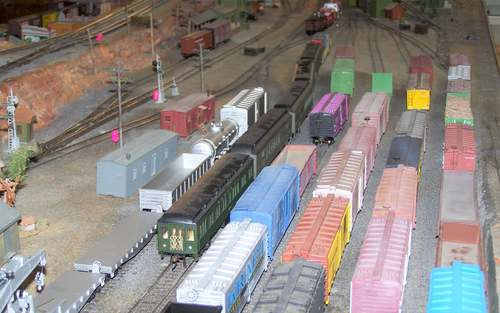 Argenta Yard on the historic Moon Southern Line model railroad layout